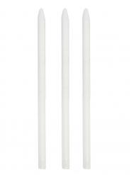3 Crayons craie blanc 12,5 cm