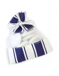 5 Sacs fantaisies organza et rayures bleu marine et blanc 8 x 10 cm