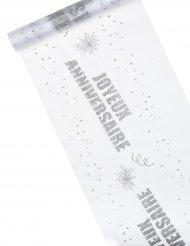 Chemin de table organza pailleté Joyeux Anniversaire argent 29 cm x 5 m