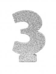 Chiffre 3 en argent pailleté 6 cm