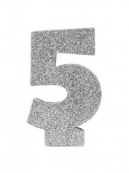 Chiffre 5 en argent pailleté 6 cm