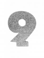 Chiffre 9 en argent pailleté 6 cm