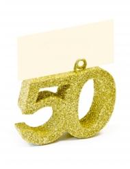 Marque place chiffre pailleté 50 doré 4 x 4 x 1,5 cm