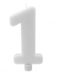 Bougie géante chiffre 1 sur pique blanc 13,5 x 8 cm