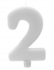 Bougie géante chiffre 2 sur pique blanc 13,5 x 8 cm