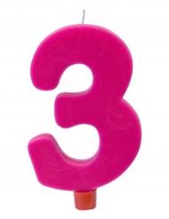 Bougie géante chiffre 3 sur pique fuchsia 13,5 x 8 cm