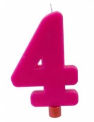 Bougie géante chiffre 4 sur pique fuchsia 13,5 x 8 cm