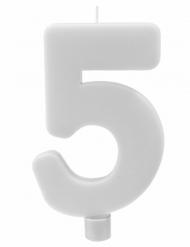 Bougie géante chiffre 5 sur pique blanc 13,5 x 8 cm