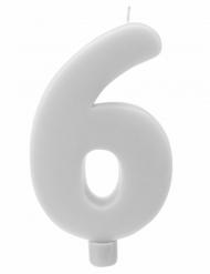 Bougie géante chiffre 6 sur pique blanc 13,5 x 8 cm