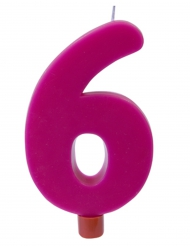 Bougie géante chiffre 6 sur pique fuchsia 13,5 x 8 cm
