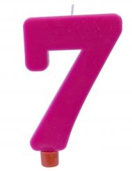 Bougie géante chiffre 7 sur pique fuchsia 13,5 x 8 cm