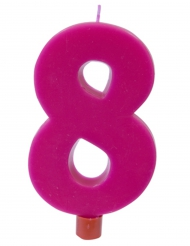 Bougie géante chiffre 8 sur pique fuchsia 13,5 x 8 cm