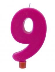 Bougie géante chiffre 9 sur pique fuchsia 13,5 x 8 cm