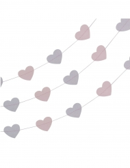 Guirlande de cœurs rose et gris pailleté 5 m