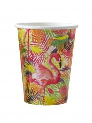 8 Gobelets en carton Flamant rose Tropical 26 cl
