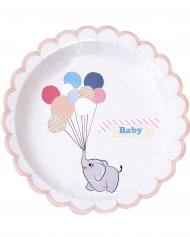 8 Assiettes en carton Petit Elephant 23 cm