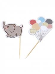 10 Décorations pour gâteaux pics Petit Elephant 10 cm