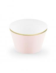 6 Caissettes à cupcake rose poudré et doré métallique 4,8 x 7,6 x 4,6 cm