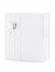 Livre d'or blanc avec dentelle 22 pages 20,5 x 20,5 cm