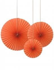 3 Rosaces décoratives orange 40, 32 et 23 cm