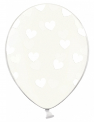 6 Ballons transparents avec cœurs blancs 30 cm