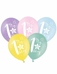 6 Ballons multicolores My 1st Birthday 30 cm