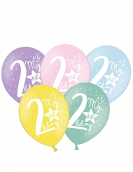 6 Ballons multicolores My 2nd Birthday 30 cm