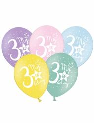 6 Ballons multicolores My 3rd Birthday 30 cm