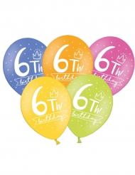 6 Ballons multicolores My 6th Birthday 30 cm