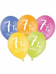 6 Ballons multicolores My 7th Birthday 30 cm