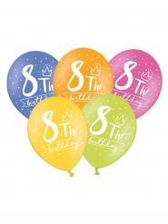 6 Ballons multicolores My 8th Birthday 30 cm