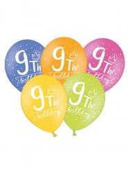 6 Ballons multicolores My 9th Birthday 30 cm