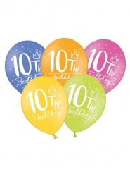 6 Ballons multicolores My 10th Birthday 30 cm