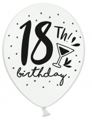 6 Ballons blanc et noir 18th Birthday 30 cm
