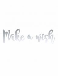 Bannière à faire soi-même Make a Wish argenté effet miroir 60 cm