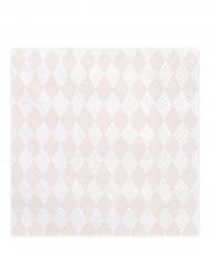 20 Serviettes en papier rose et blanc 33 x 33 cm