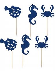 6 Décorations pour gâteau sur pique bleu Crustacés 11,5 à 13 cm