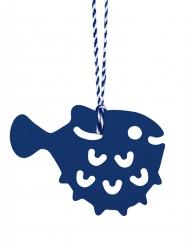 6 Etiquettes bleues marines en forme de Crustacés