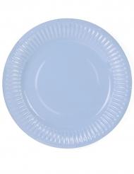 6 Petites assiettes en carton bleu pastel 18 cm