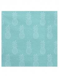 20 Serviettes en papier turquoises motif Ananas 33 x 33 cm