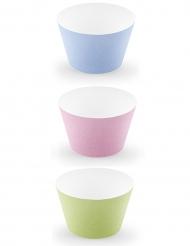 6 Caissettes à cupcake en carton couleurs pastel 5 x 7,5 x 5 cm