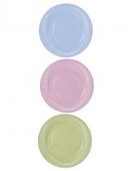6 Petites assiettes en carton couleurs pastel 18 cm