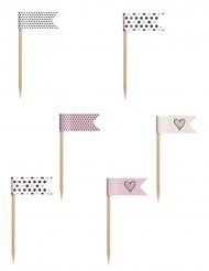 6 Mini-drapeaux sur pique rose poudré, chocolat, beige et blanc 7 cm