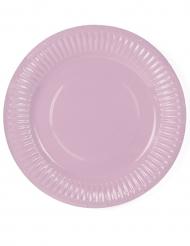 6 Petites assiettes en carton rose poudré 18 cm