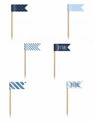 6 Mini-drapeaux sur pique nuances de bleu 7 cm