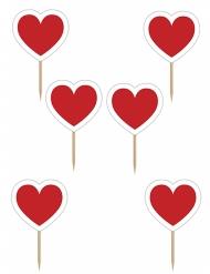 6 Décorations pour gâteau sur pique Coeurs rouges 10 cm