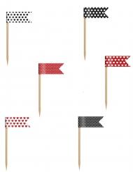 6 Mini-drapeaux sur pique à pois 7 cm
