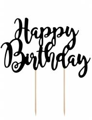 Décoration pour gâteau sur pique Happy Birthday noir 22,5 cm