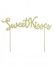 Décoration pour gâteau sur pique Sweet Kisses doré pailleté 16,5 cm