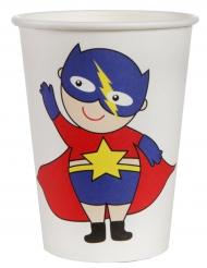 10 Gobelets en carton Super héros boy blanc 7,8 x 9,7 cm